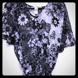 Necessary Objects Sheer Peasant Blouse Small